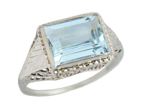 Aquamarine Artistry - Filigree Vintage Ring