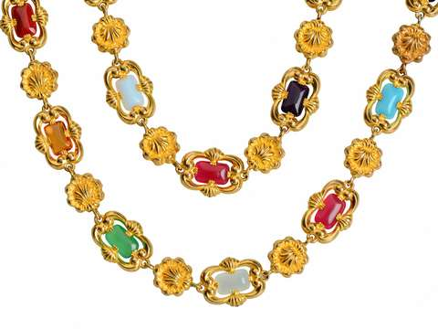 Portrait of Style - Georgian Pinchbeck Colorful Long Chain