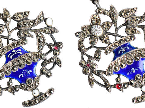 Georgian Giardinetti Flower Basket Earrings c. 1760