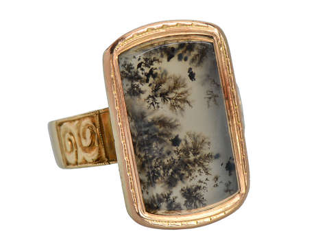 Victorian Picture Moss Agate Gold Ring
