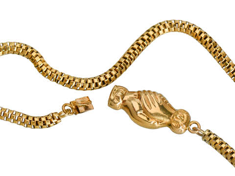 Concordia - Antique Clasped Hands Chain Necklace
