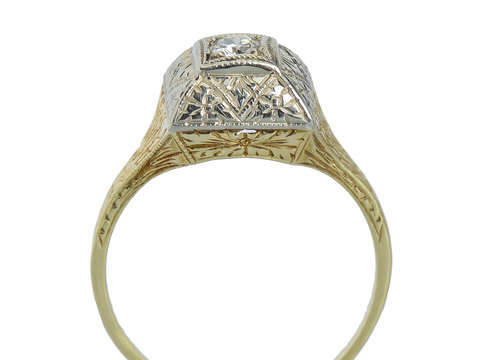 Two Color Gold Diamond Engagement Ring