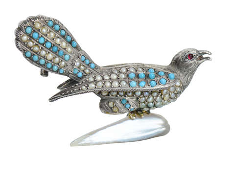 Proud Plumage - Victorian Turquoise Pearl Bird Brooch