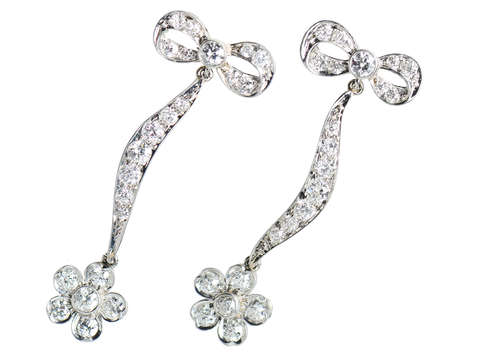 Antique Diamond Flower Dangle Earrings