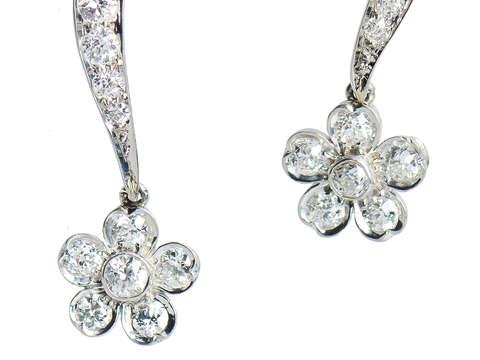 Antique Diamond Flower Dangle Earrings