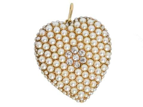 Antique Natural Pearl Diamond Heart Pendant