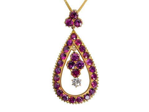 Ruby Diamond Teardrop Pendant & Chain