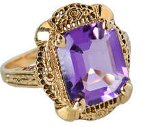 Flower Garden - Vintage Amethyst Filigree Ring