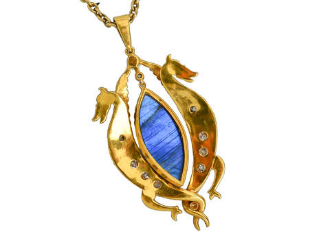 Antique Labradorite Dragon Pendant & Chain