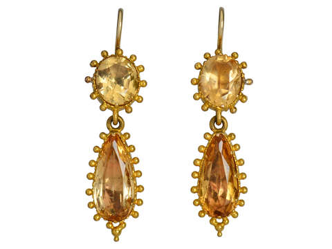 Georgian Topaz Dangle Earrings
