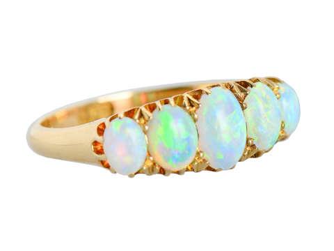 Edwardian Five Graduated Opal 18k Ring