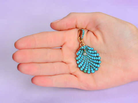 Victorian Pave Turquoise Scallop Shell Pendant