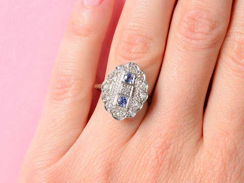 Artful Art Deco Sapphire Diamond Ring
