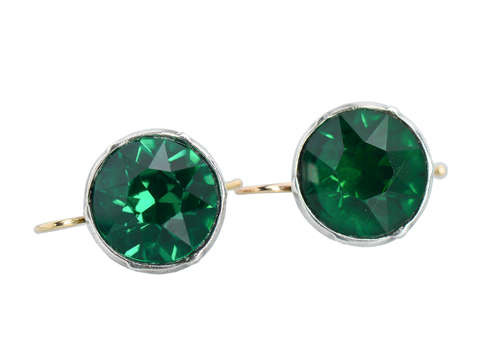 Emerald Colored Paste 7 C. Dangle Earrings