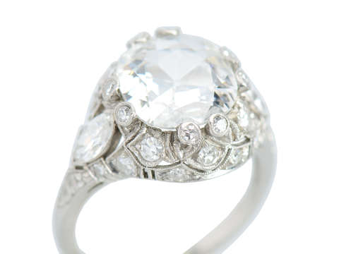 Antique Cushion Cut Diamond Engagement Ring 3.15 C.