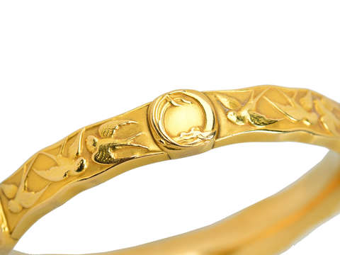 Antique Riker Bros. Swallow Motif 18k Gold Bangle