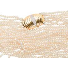 Estate Akoya Pearl Necklace & Diamond Clasp Brooch