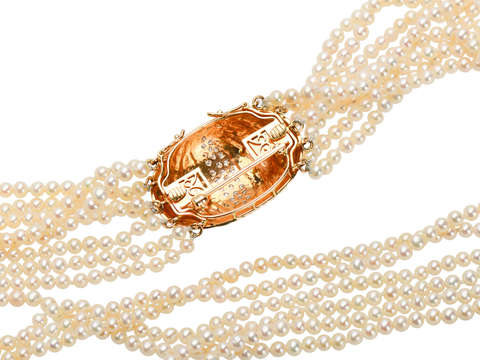 Estate Akoya Pearl Necklace & Diamond Clasp Brooch