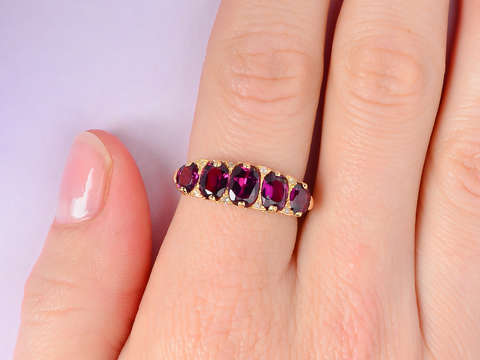 Victorian Antique Garnet Diamond Five Stone Ring