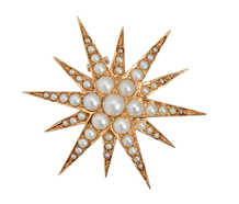 Antique Natural Pearl Star Pendant Brooch
