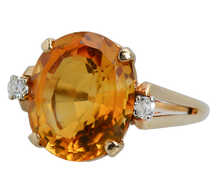 Vintage Oval Citrine Diamond Ring of 1960