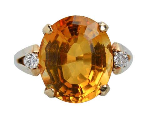 Vintage Oval Citrine Diamond Ring of 1960