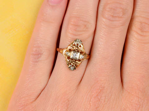 Vintage Two Color Gold Diamond Ring