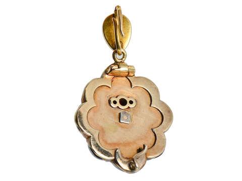 Victorian Garnet Cabochon & Diamond Star Pendant