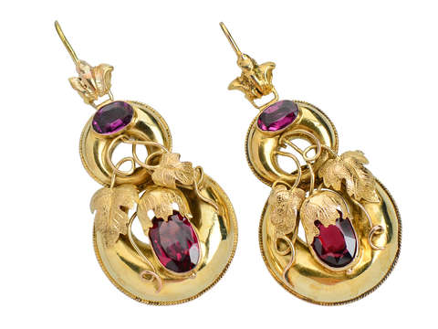 Garnet Victorian Earrings With ivy