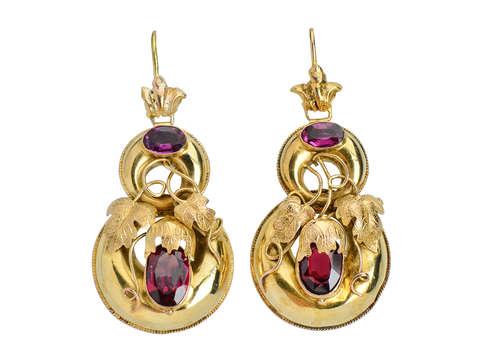 Garnet Victorian Earrings With ivy