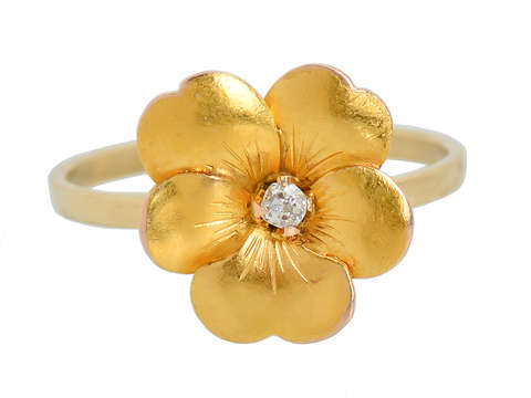 Antique Pansy Flower Diamond Ring