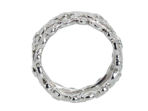 Platinum Diamond Wide Flowered Eternity Band