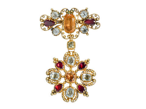 Georgian Topaz & Gem Set Brooch Pendant