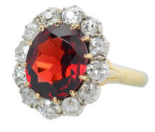Ember Magic - Antique Garnet Diamond Ring Cluster