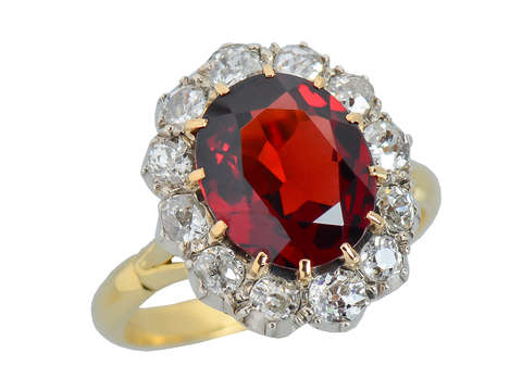 Ember Magic - Antique Garnet Diamond Ring Cluster