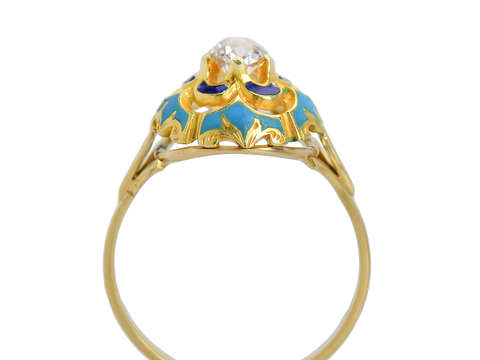 Dome of Heaven - Diamond Enamel Ring