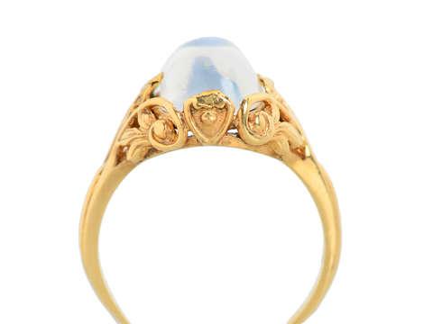 Art Nouveau Blue Moonstone Gold Ring