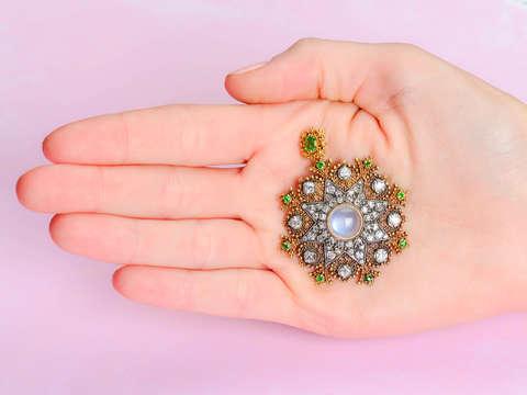 Victorian Demantoid, Moonstone & Diamond Pendant