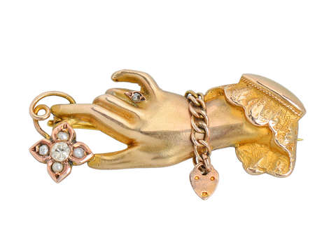 Victorian Hand Brooch of Gold Dated 1900