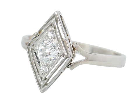 Double Diamond Vintage Engagement Ring
