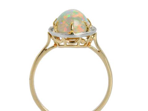 Crescent Moon Motif Australian Opal Ring