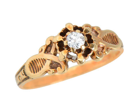 J.R. Woods Buttercup Set Diamond Antique Ring