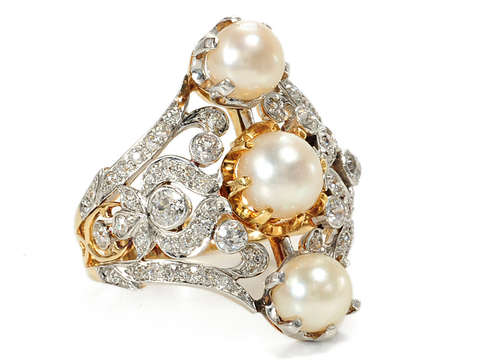 Exuberant Diamond & Pearl Vintage Ring