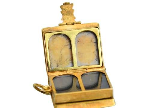 Antique Eight Compartment Gold Book Locket