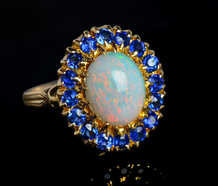 Vintage Opal Sapphire Cluster Ring of 1940