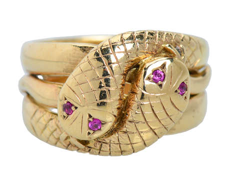 Weighty Double Snake Gold & Ruby Vintage Ring