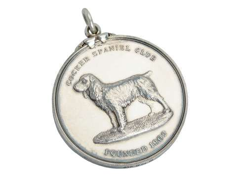 Cocker Spaniel Sterling Silver Dog Pendant - 1927