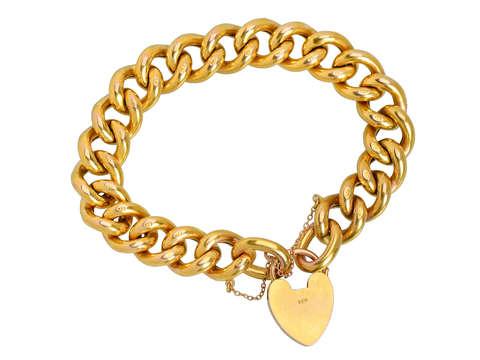"""""""THE BEST"""" Antique Gold Padlock Curb Bracelet"""