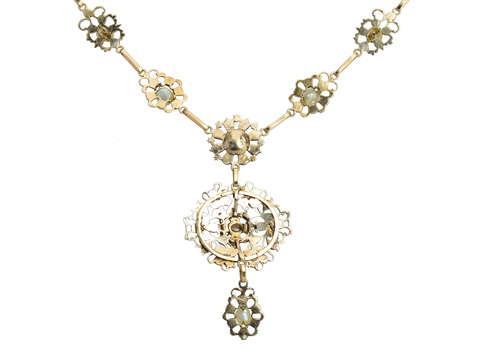 Georgian Natural Pearl & Garnet Necklace