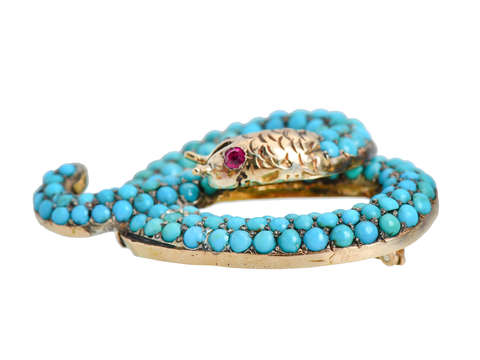 Victorian Pavé Turquoise Snake Brooch